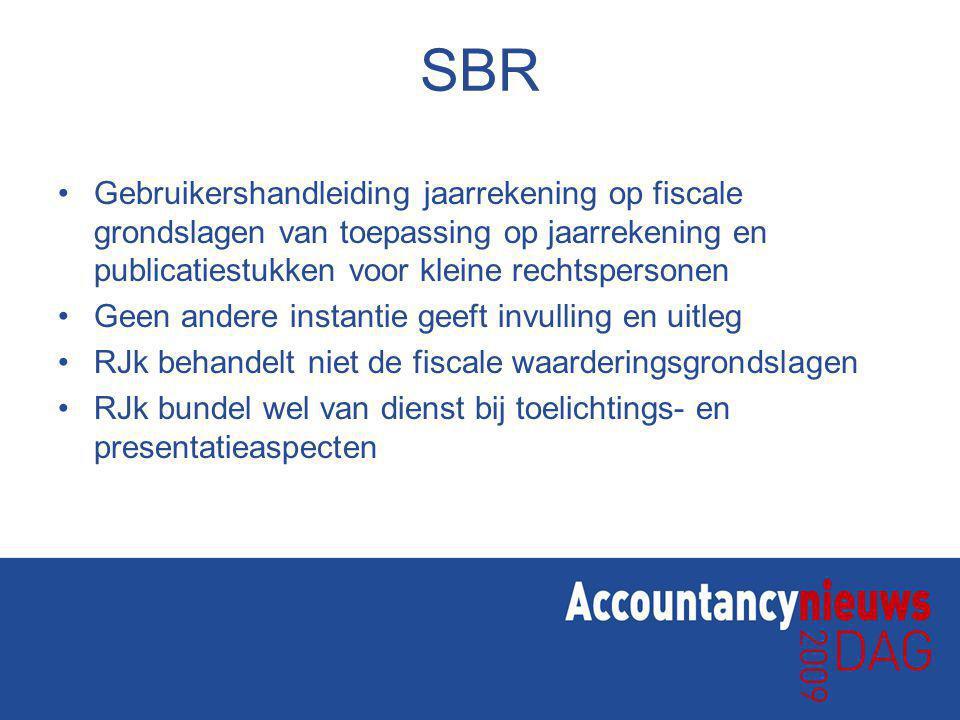 SBR Gebruikershandleiding jaarrekening op fiscale grondslagen van toepassing op jaarrekening en publicatiestukken voor kleine rechtspersonen.