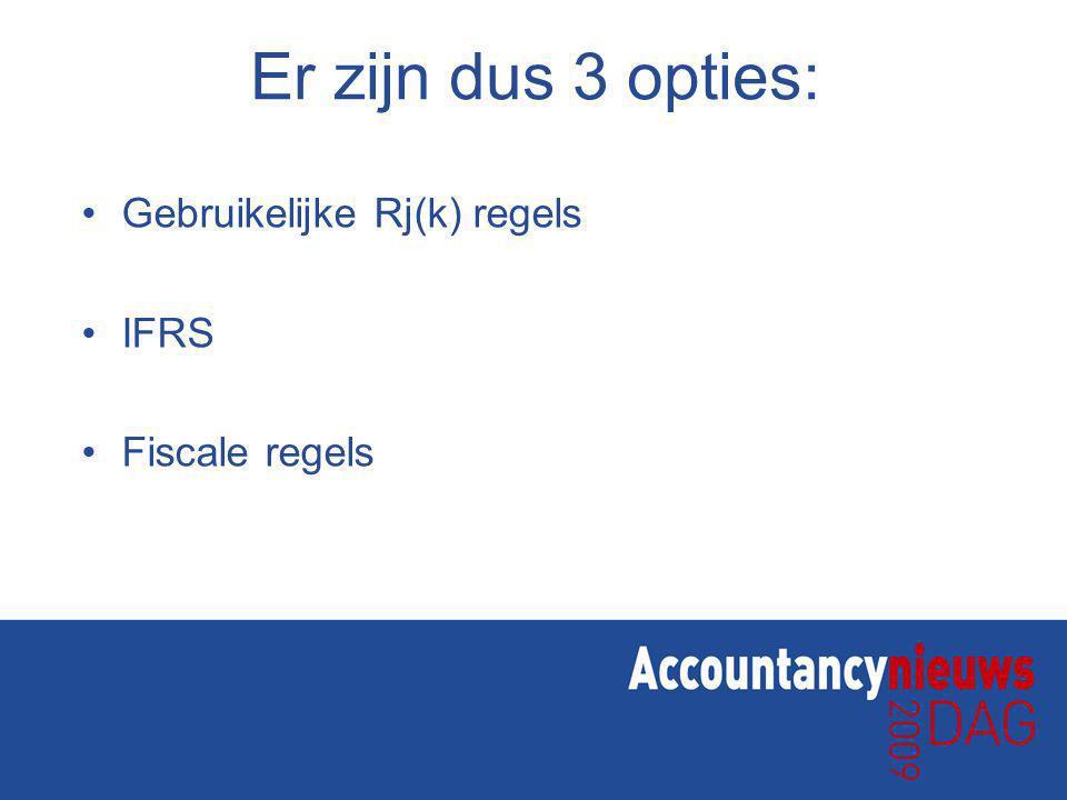 Er zijn dus 3 opties: Gebruikelijke Rj(k) regels IFRS Fiscale regels