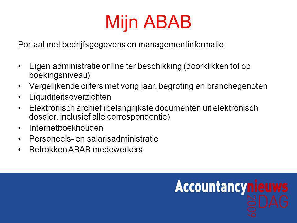 Mijn ABAB Portaal met bedrijfsgegevens en managementinformatie: