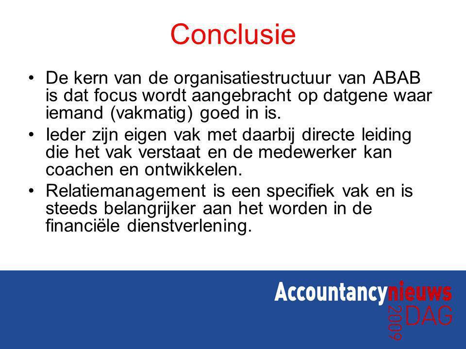 Conclusie De kern van de organisatiestructuur van ABAB is dat focus wordt aangebracht op datgene waar iemand (vakmatig) goed in is.