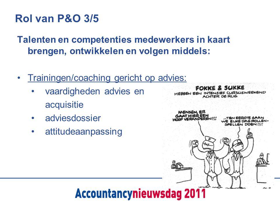 Rol van P&O 3/5 Talenten en competenties medewerkers in kaart brengen, ontwikkelen en volgen middels: