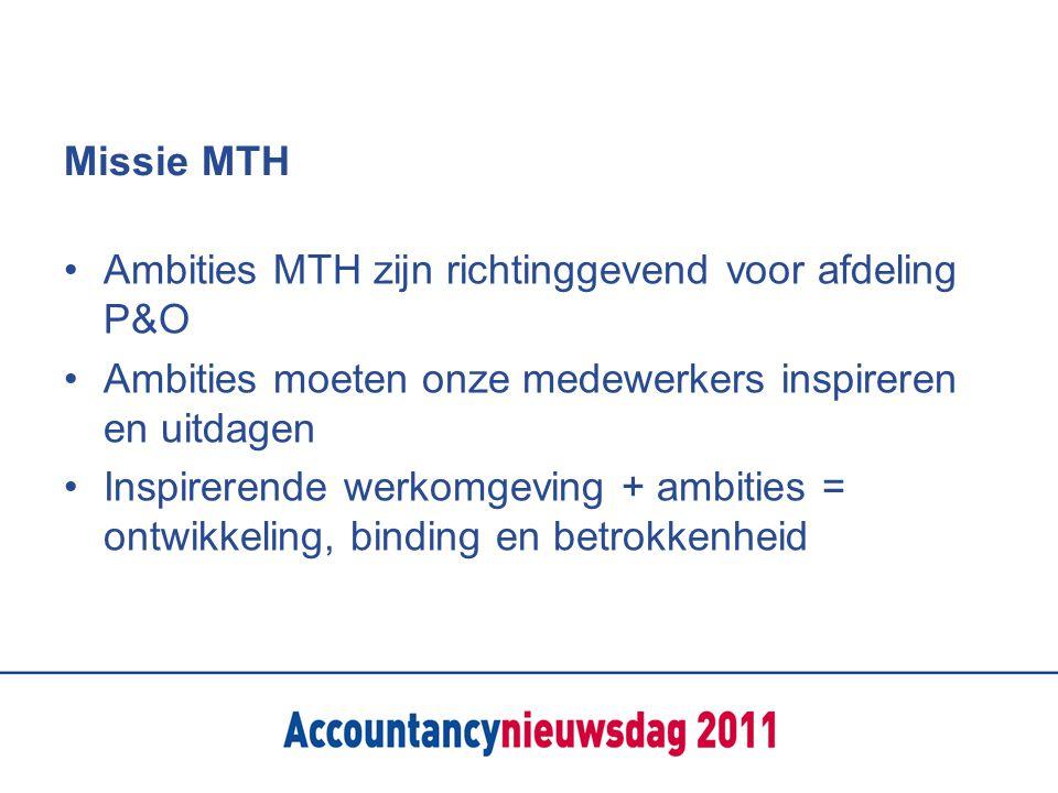 Missie MTH Ambities MTH zijn richtinggevend voor afdeling P&O. Ambities moeten onze medewerkers inspireren en uitdagen.