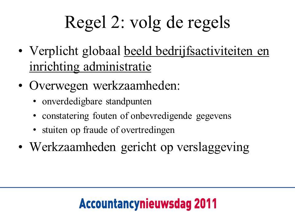 Regel 2: volg de regels Verplicht globaal beeld bedrijfsactiviteiten en inrichting administratie. Overwegen werkzaamheden: