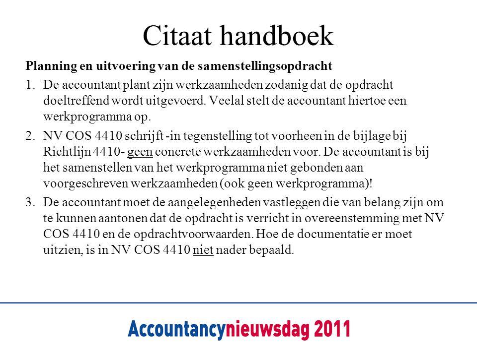 Citaat handboek Planning en uitvoering van de samenstellingsopdracht