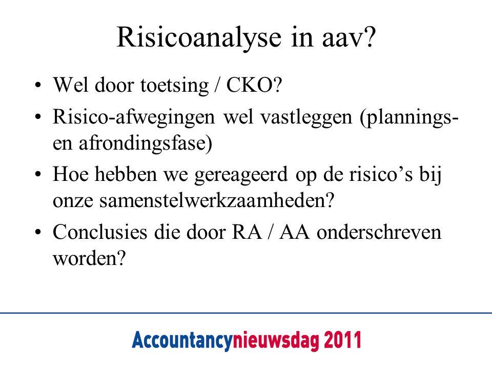 Risicoanalyse in aav Wel door toetsing / CKO