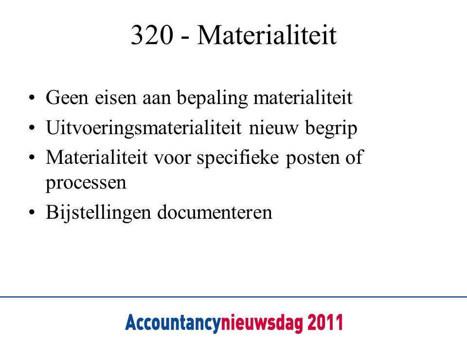 320 - Materialiteit Geen eisen aan bepaling materialiteit
