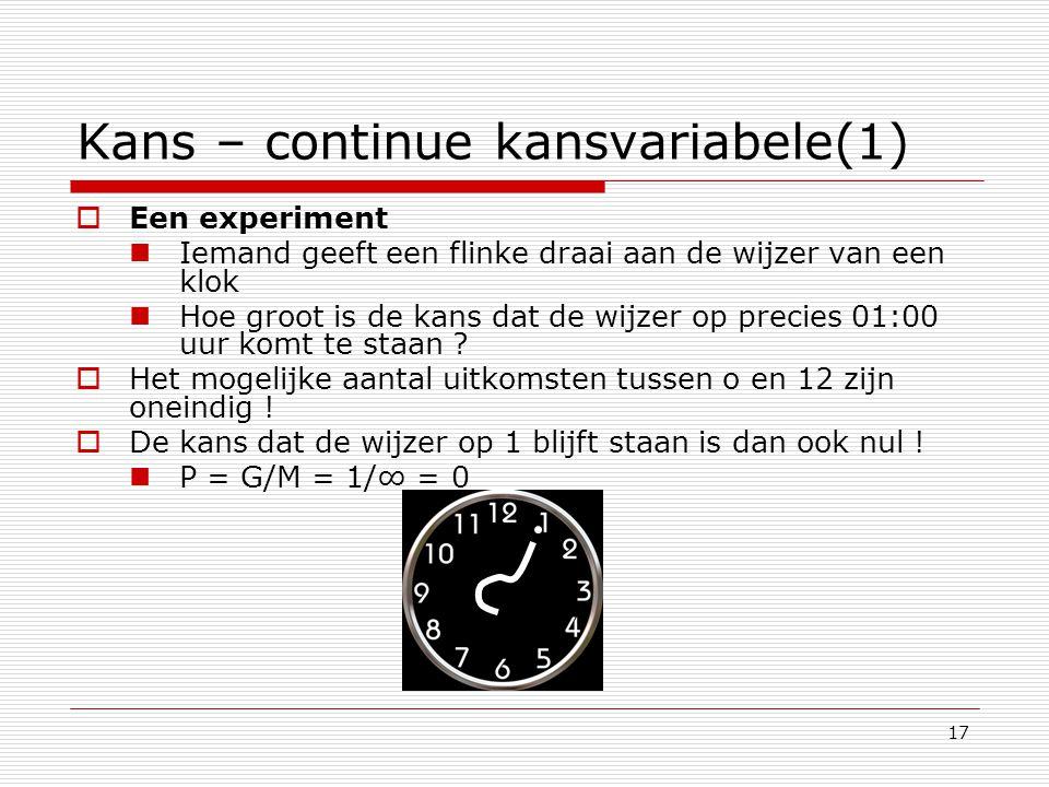 Kans – continue kansvariabele(1)