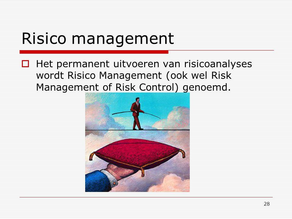 Risico management Het permanent uitvoeren van risicoanalyses wordt Risico Management (ook wel Risk Management of Risk Control) genoemd.
