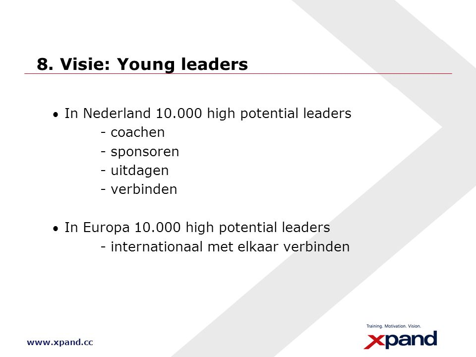 8. Visie: Young leaders · In Nederland 10.000 high potential leaders