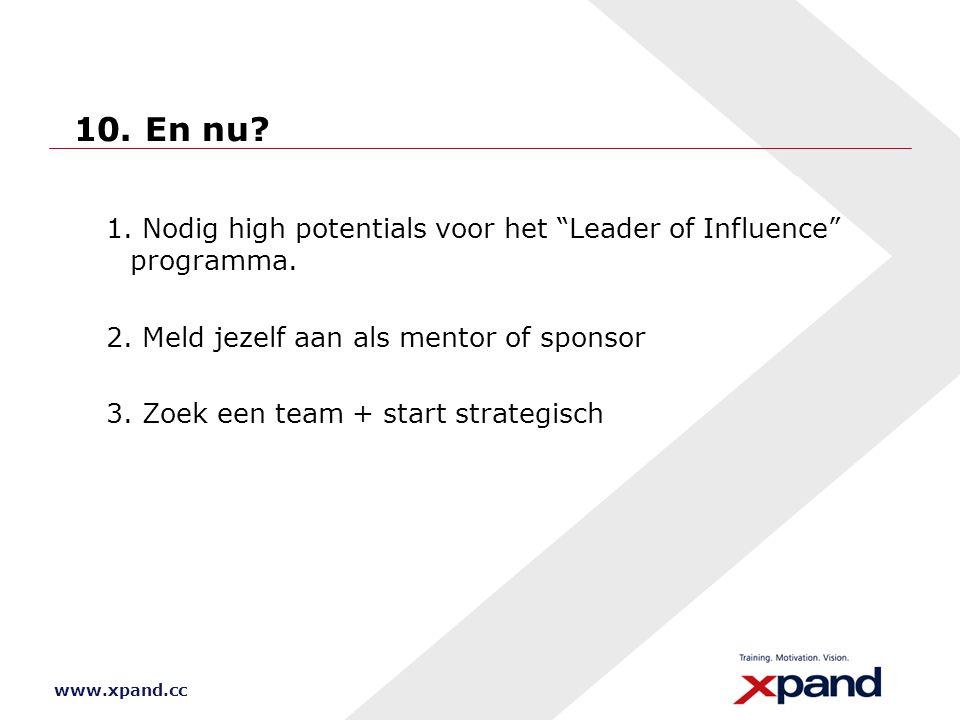 10. En nu 1. Nodig high potentials voor het Leader of Influence programma. 2. Meld jezelf aan als mentor of sponsor.