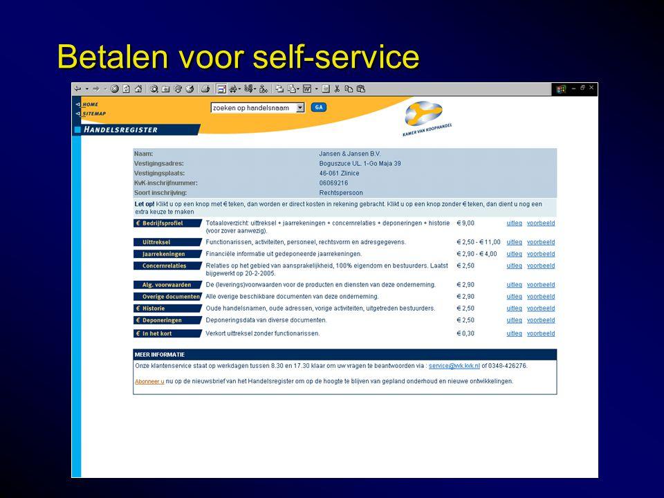 Betalen voor self-service