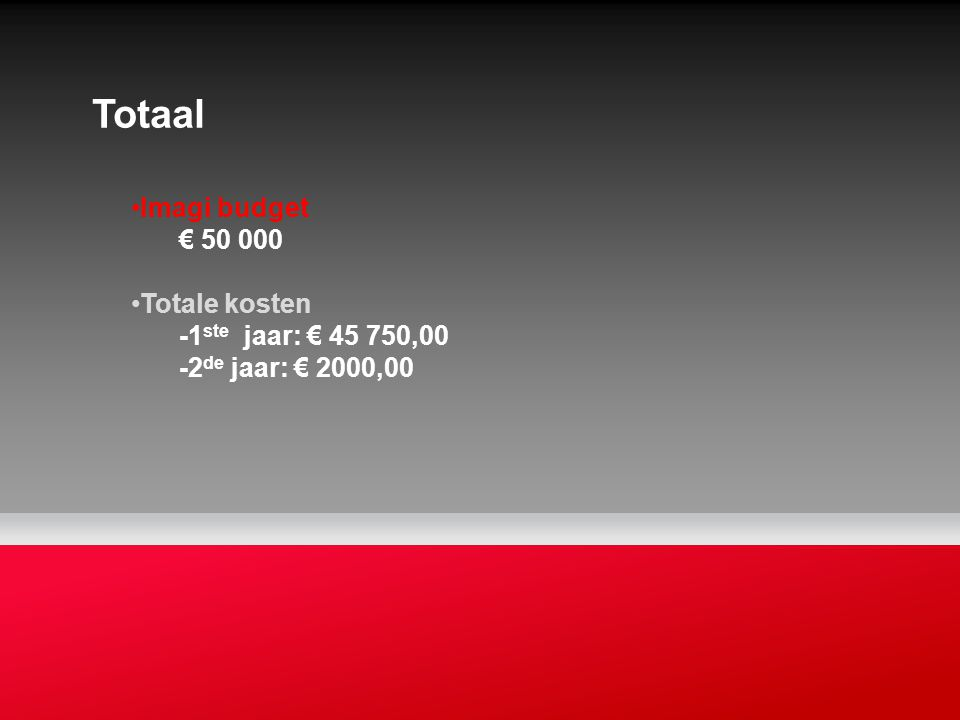 Totaal Imagi budget € 50 000 Totale kosten -1ste jaar: € 45 750,00