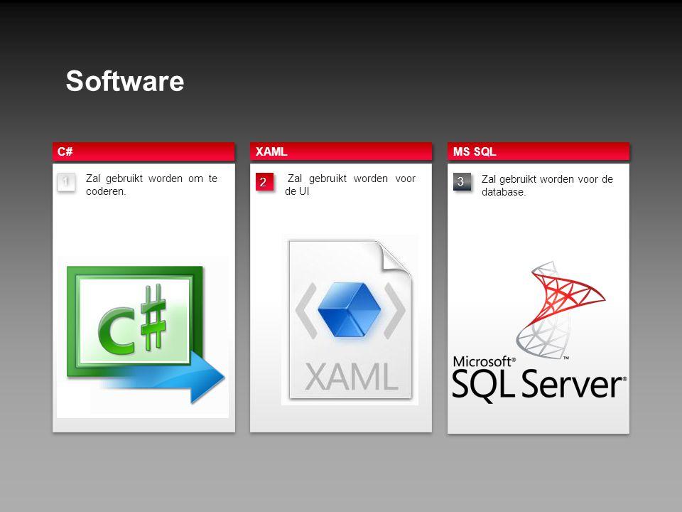 Software XAML 1 C# MS SQL 3 2 tZal gebruikt worden voor de UI