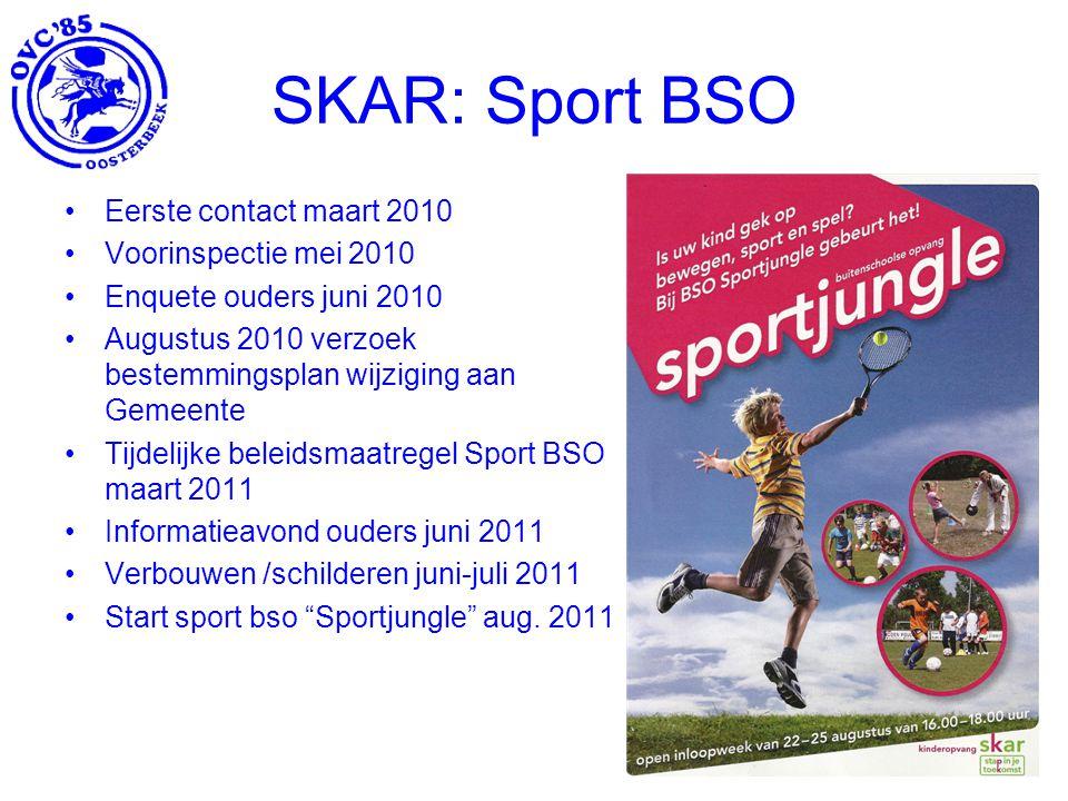 SKAR: Sport BSO Eerste contact maart 2010 Voorinspectie mei 2010