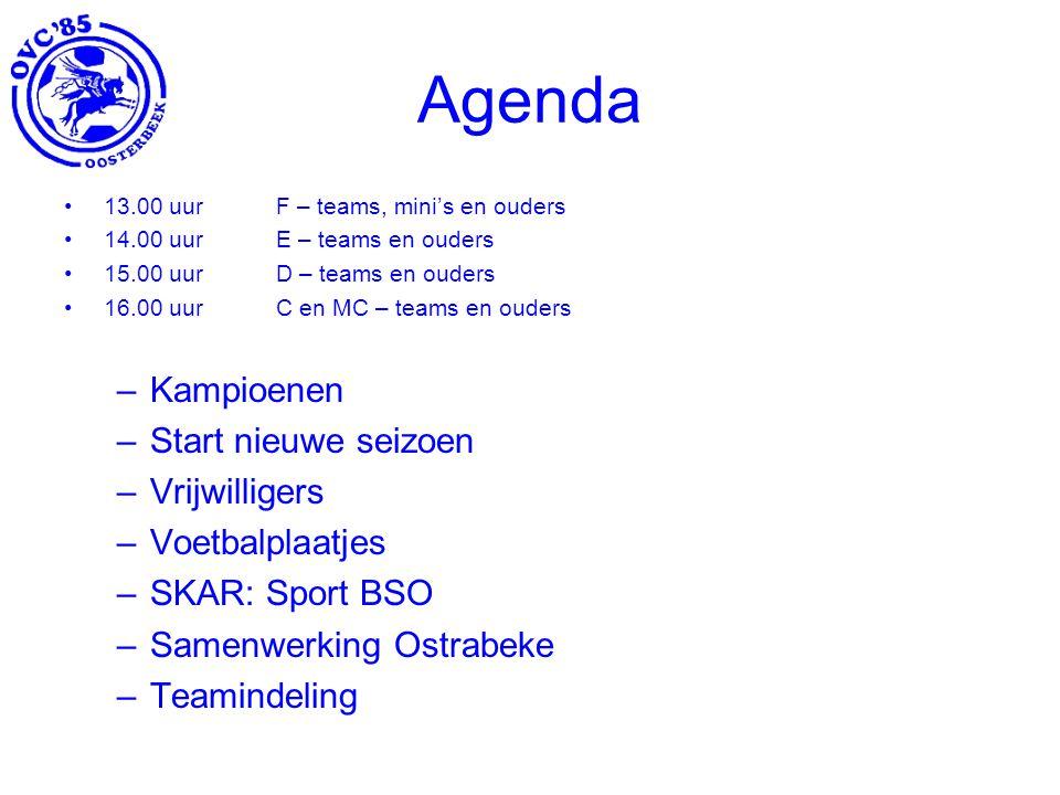Agenda Kampioenen Start nieuwe seizoen Vrijwilligers Voetbalplaatjes