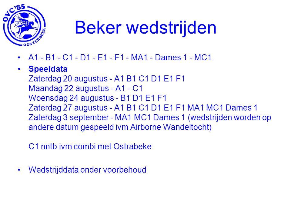 Beker wedstrijden A1 - B1 - C1 - D1 - E1 - F1 - MA1 - Dames 1 - MC1.