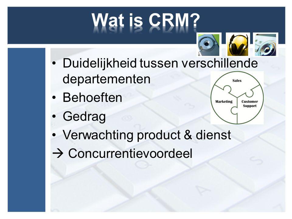Wat is CRM Duidelijkheid tussen verschillende departementen Behoeften