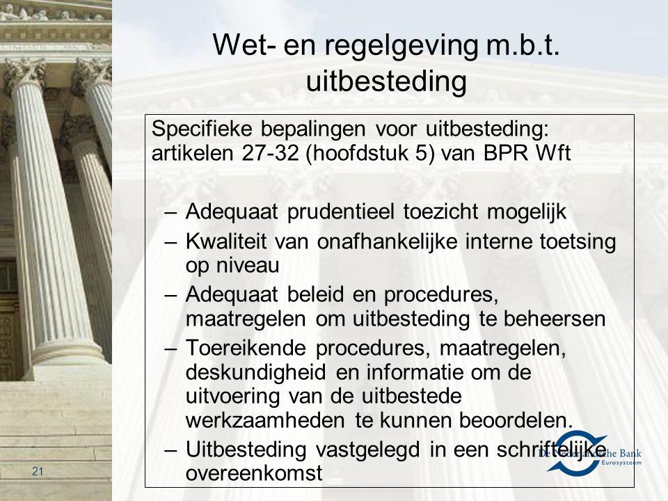 Wet- en regelgeving m.b.t. uitbesteding