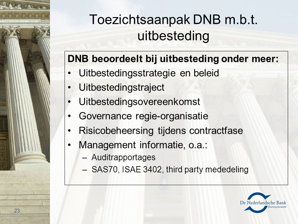 Toezichtsaanpak DNB m.b.t. uitbesteding