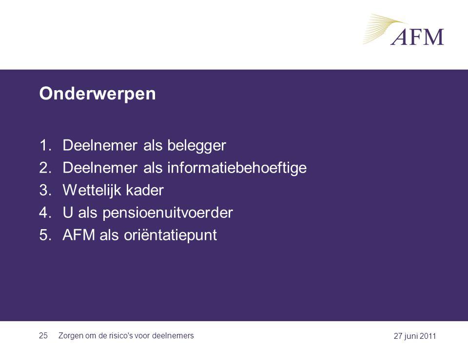 Onderwerpen Deelnemer als belegger Deelnemer als informatiebehoeftige