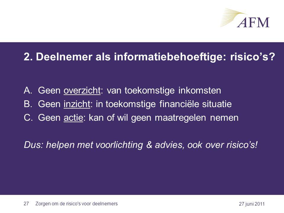 2. Deelnemer als informatiebehoeftige: risico's