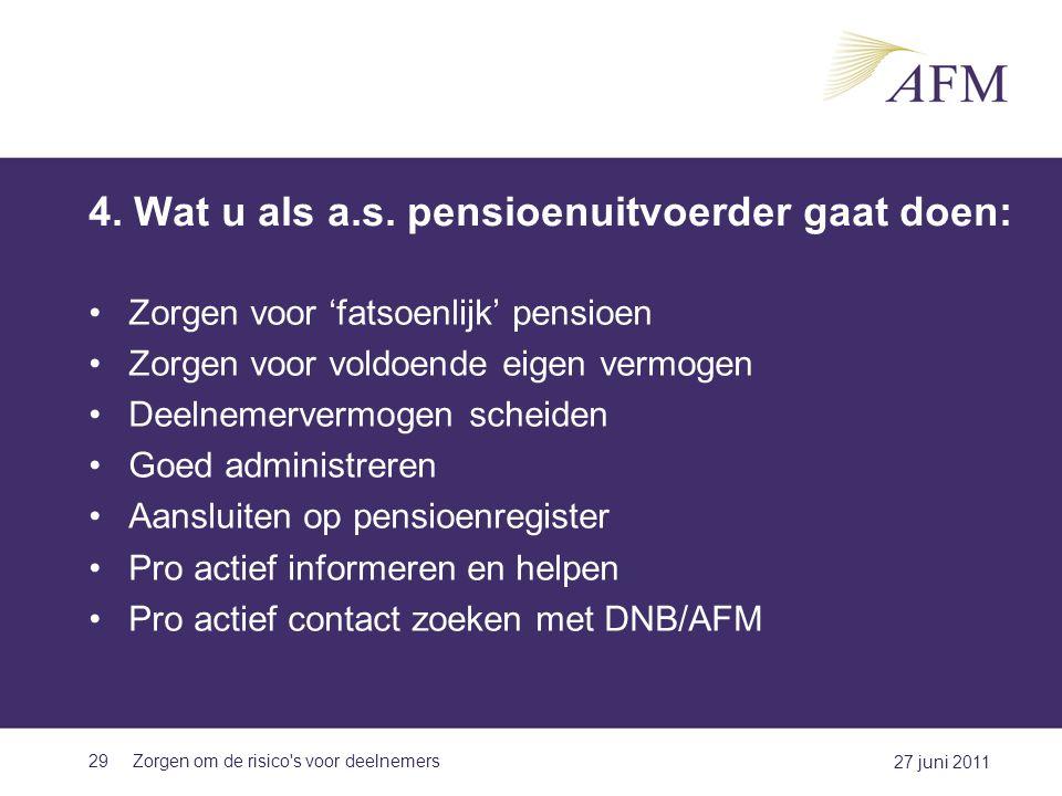 4. Wat u als a.s. pensioenuitvoerder gaat doen: