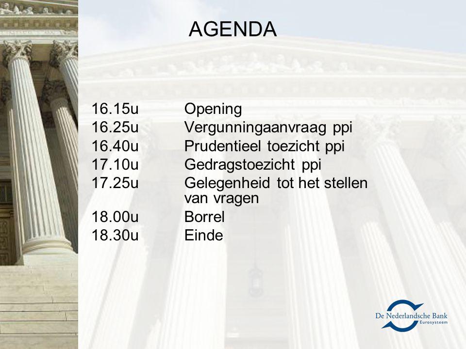 AGENDA 16.15u Opening 16.25u Vergunningaanvraag ppi