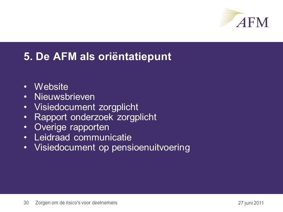 5. De AFM als oriëntatiepunt