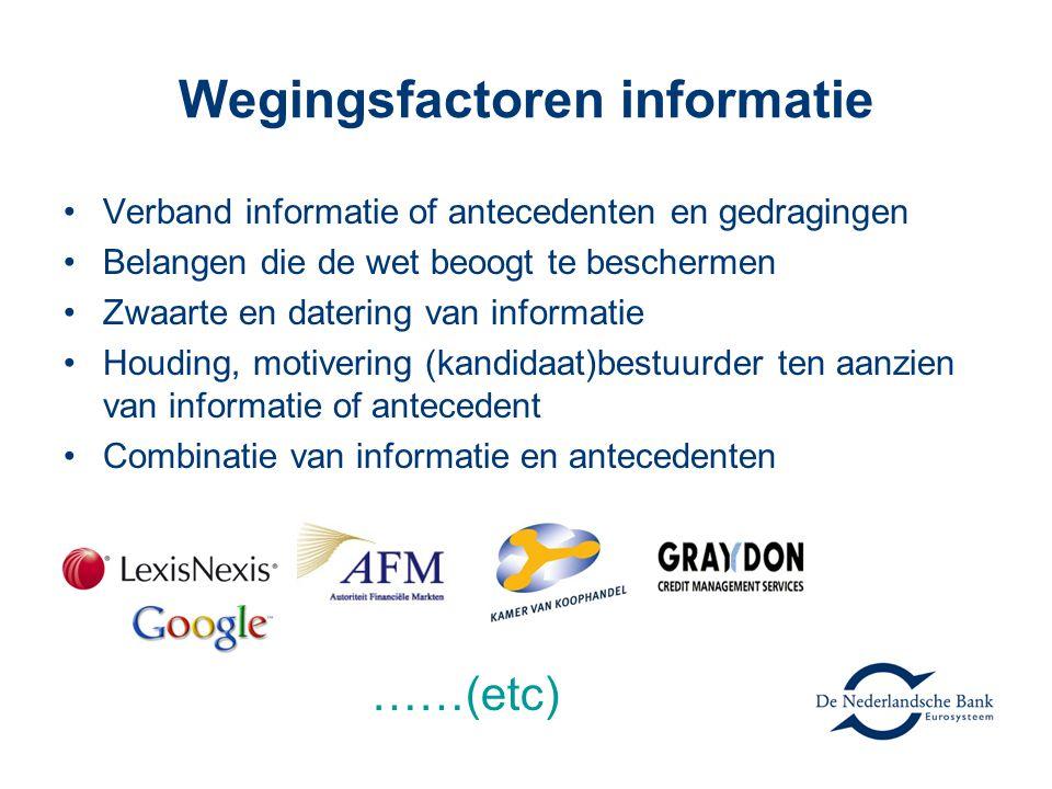 Wegingsfactoren informatie