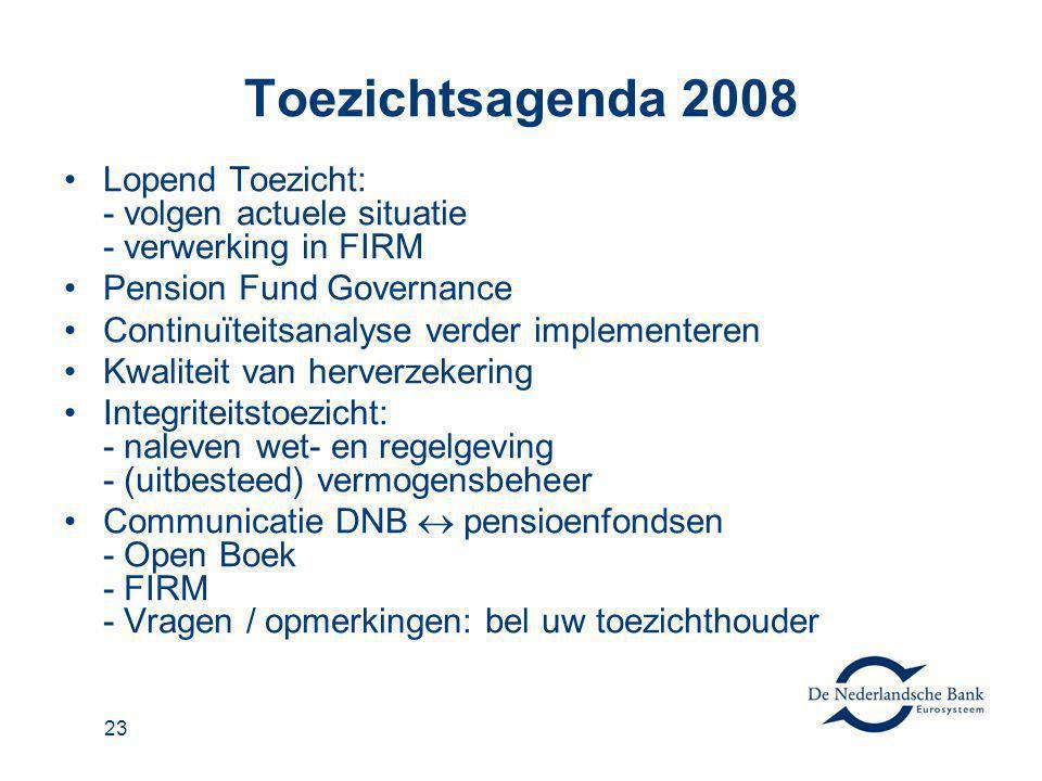 Toezichtsagenda 2008 Lopend Toezicht: - volgen actuele situatie - verwerking in FIRM. Pension Fund Governance.