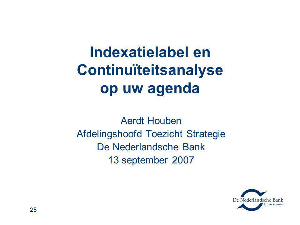 Indexatielabel en Continuïteitsanalyse op uw agenda