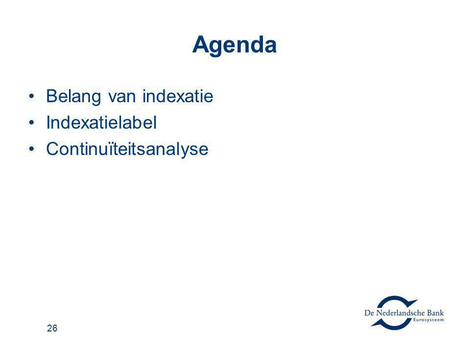 Agenda Belang van indexatie Indexatielabel Continuïteitsanalyse