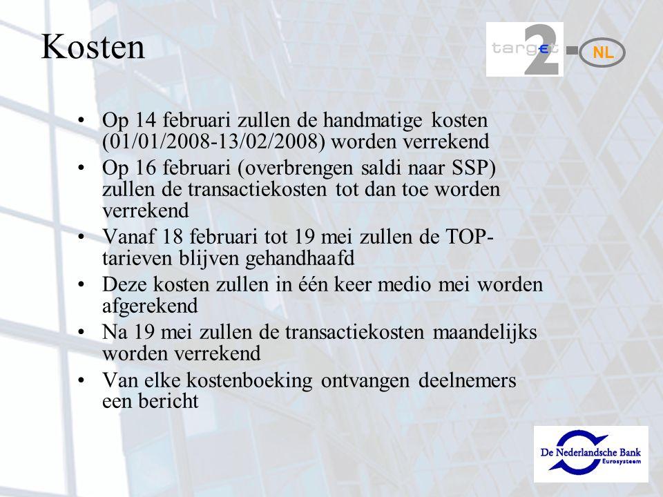 Kosten NL. Op 14 februari zullen de handmatige kosten (01/01/2008-13/02/2008) worden verrekend.