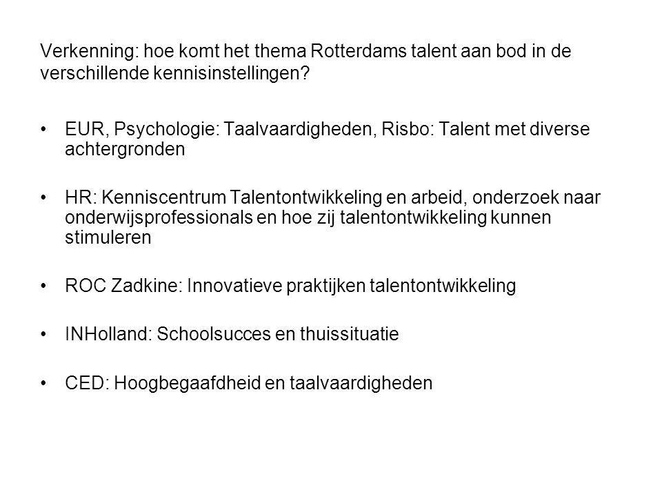 Verkenning: hoe komt het thema Rotterdams talent aan bod in de verschillende kennisinstellingen