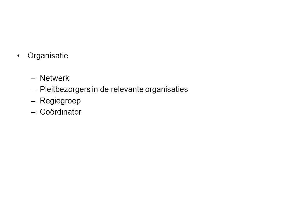 Organisatie Netwerk Pleitbezorgers in de relevante organisaties Regiegroep Coördinator