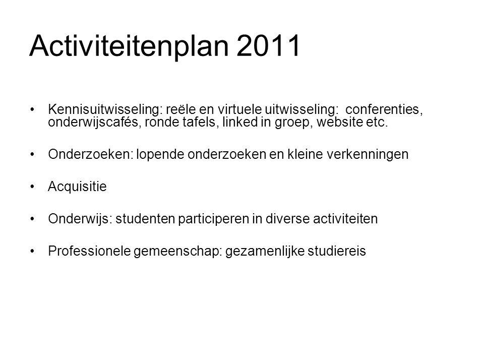 Activiteitenplan 2011 Kennisuitwisseling: reële en virtuele uitwisseling: conferenties, onderwijscafés, ronde tafels, linked in groep, website etc.