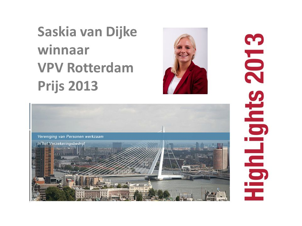 Saskia van Dijke winnaar VPV Rotterdam Prijs 2013