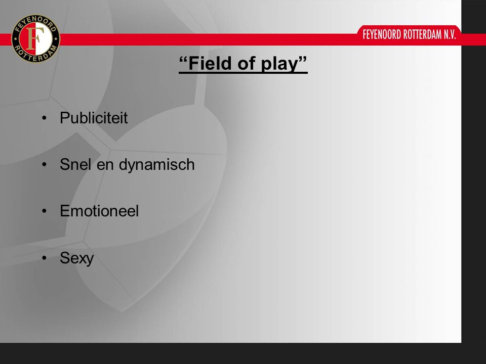 Field of play Publiciteit Snel en dynamisch Emotioneel Sexy