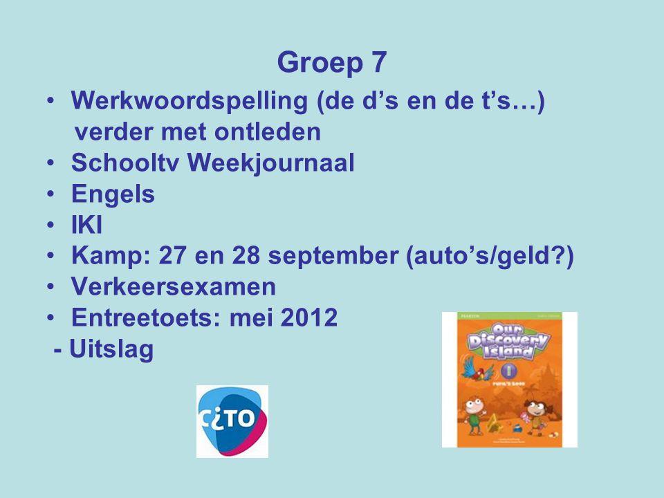 Groep 7 Werkwoordspelling (de d's en de t's…) verder met ontleden