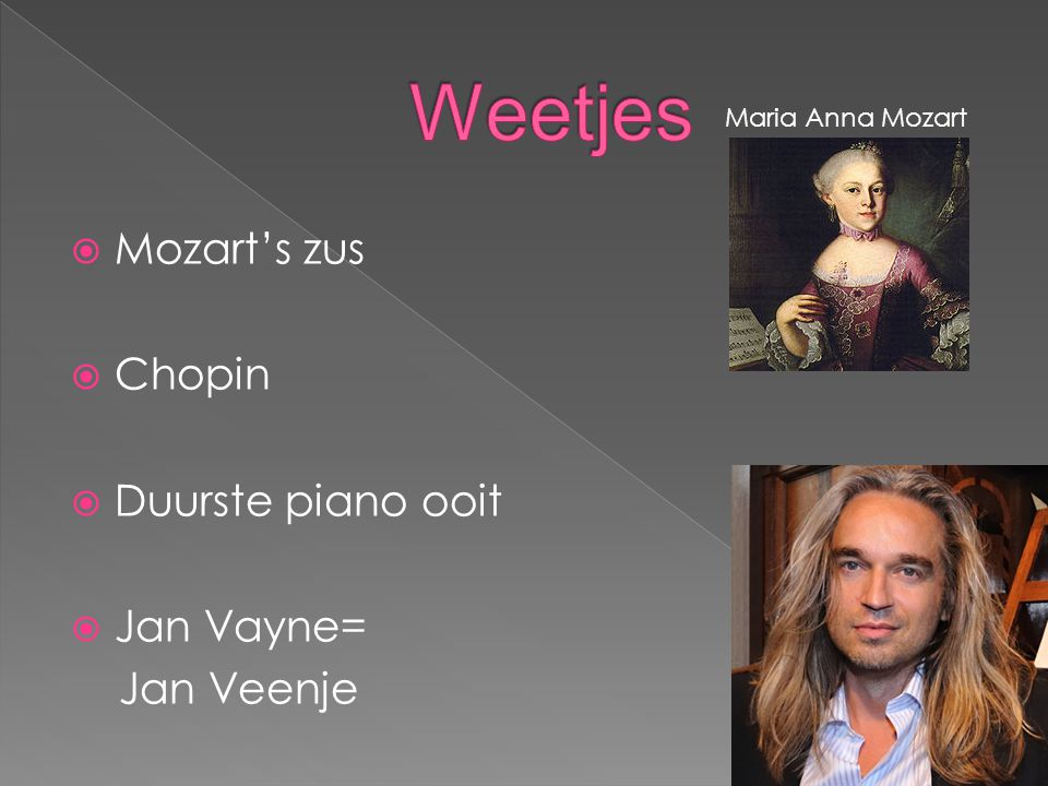 Weetjes Mozart's zus Chopin Duurste piano ooit Jan Vayne= Jan Veenje
