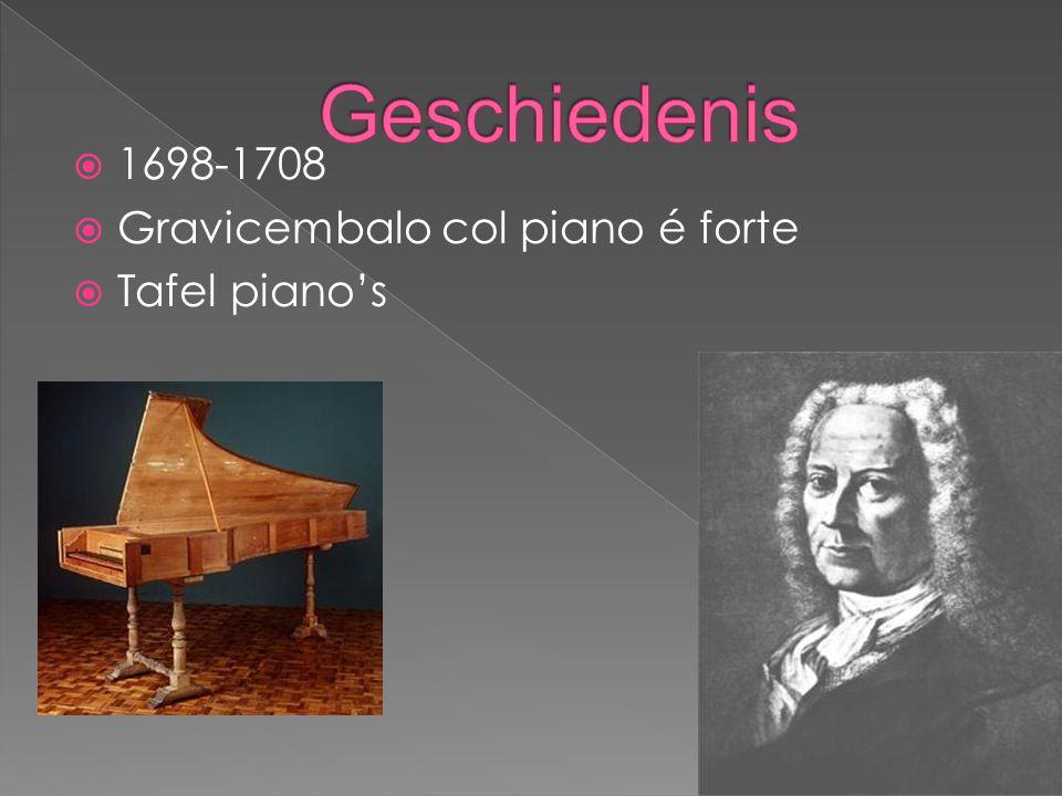 Geschiedenis 1698-1708 Gravicembalo col piano é forte Tafel piano's