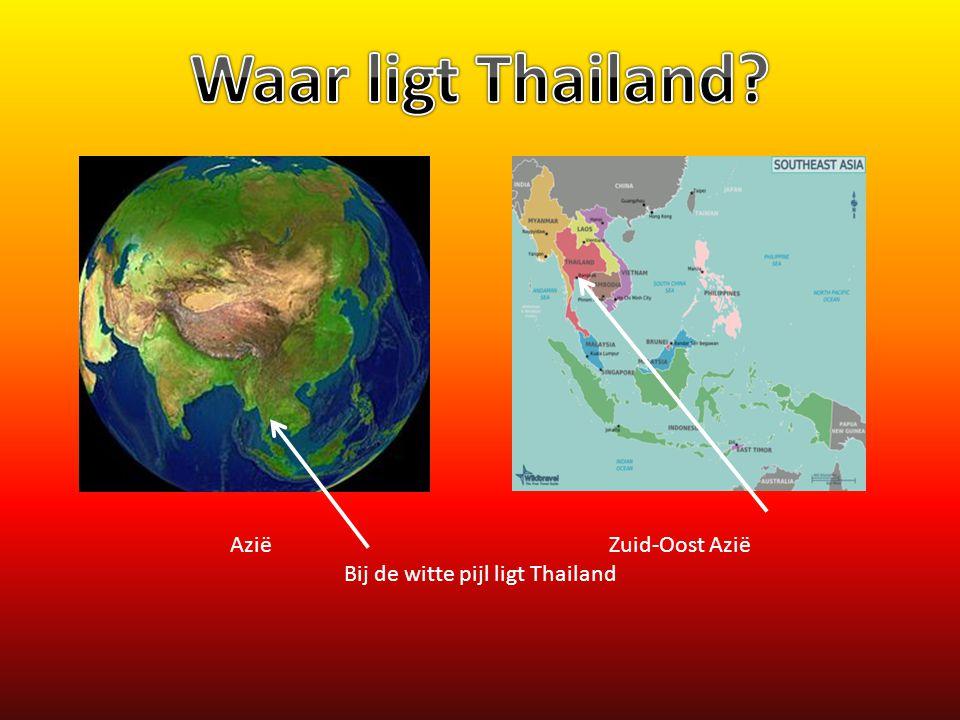 Bij de witte pijl ligt Thailand