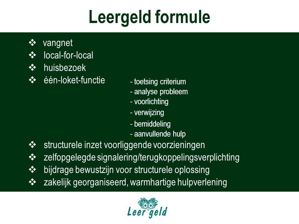 Leergeld formule vangnet local-for-local huisbezoek één-loket-functie