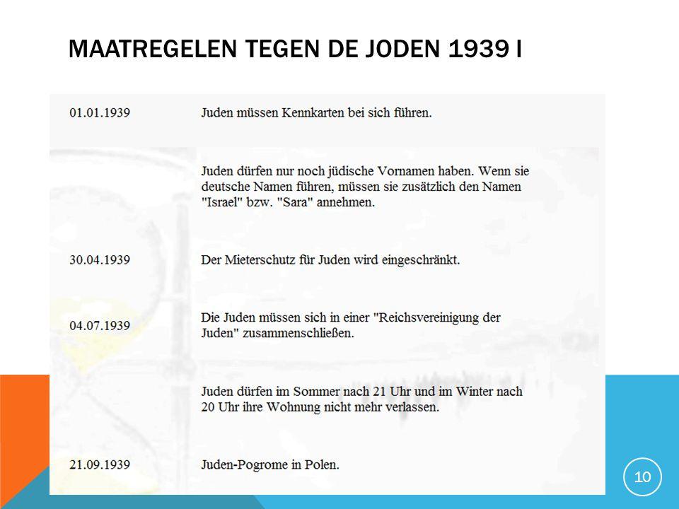 Maatregelen tegen de joden 1939 I