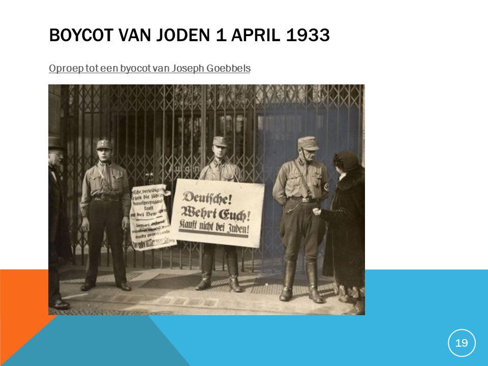 Boycot van Joden 1 april 1933 Oproep tot een byocot van Joseph Goebbels