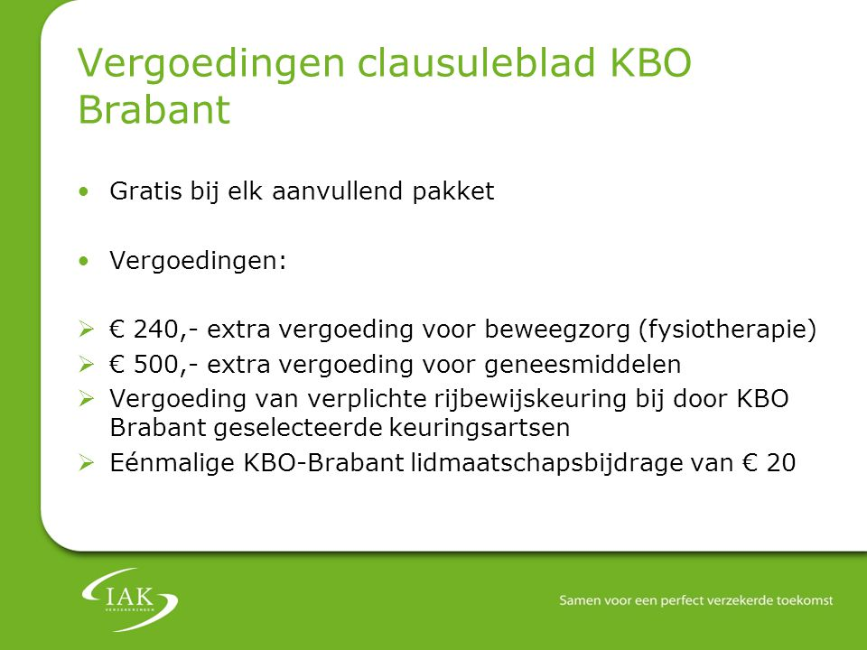 Vergoedingen clausuleblad KBO Brabant
