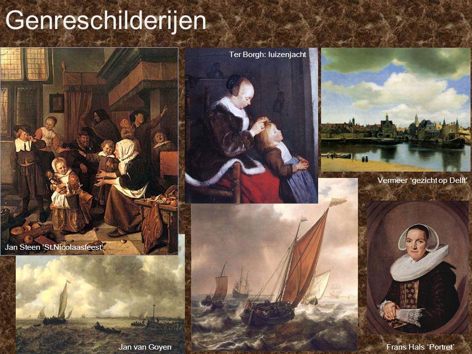Genreschilderijen Ter Borgh: luizenjacht Vermeer 'gezicht op Delft'