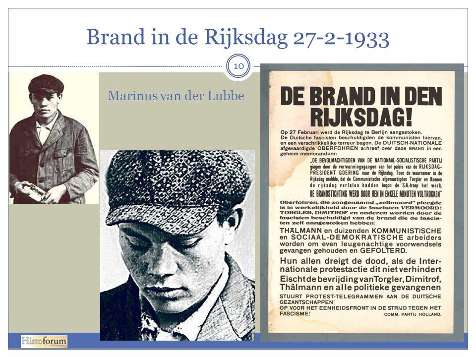 Brand in de Rijksdag 27-2-1933 Marinus van der Lubbe
