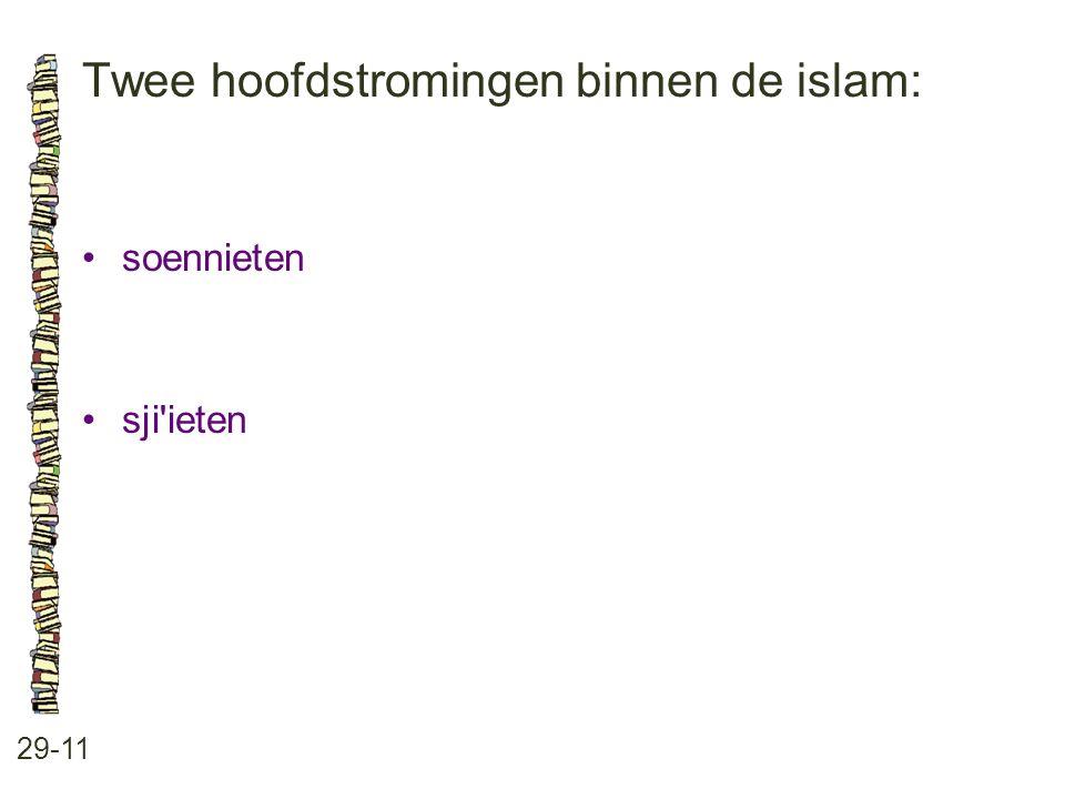 Twee hoofdstromingen binnen de islam: