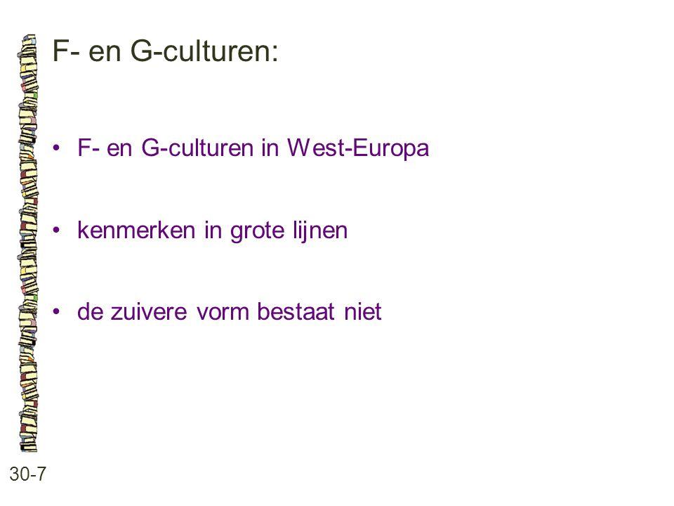F- en G-culturen: • F- en G-culturen in West-Europa